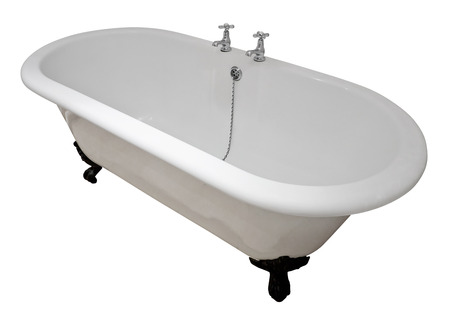bathtub: Luxury white flat rim roll top clawfoot bathtub isolated against a white background