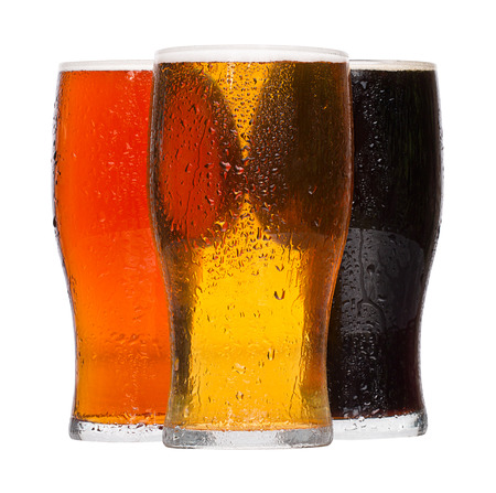brewers: Different chilled refreshing pints of Beer, lager and stout served by the Alcoholic drinks industry