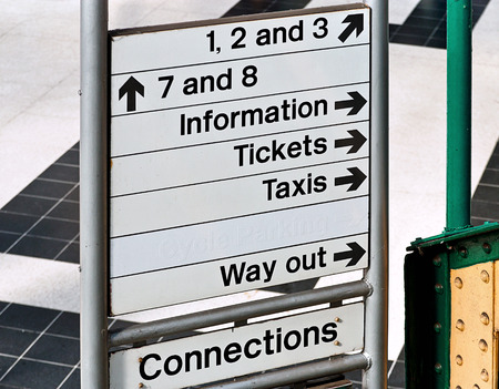 Direction or information sign at an English Train Station generally run by british rail and used to guide commuters getting to work around efficently. Standard-Bild