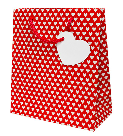 Valentines day gift bag decorated with heart shapes the perfect wrapping for that special preent for your loved one on this national holiday. Standard-Bild