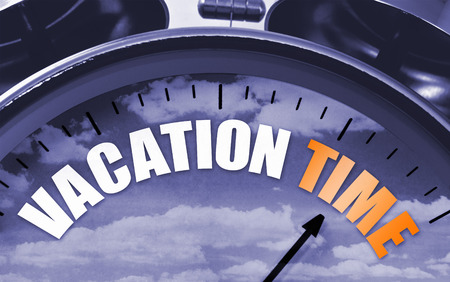 Vacation time concept on a clockface to symbolize that its time to get away for some rest and recuperation.