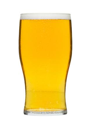 schooner: Glass of beer a popular alcoholic drink served in bars and a favourite refreshment at celebrations in the summer. Stock Photo
