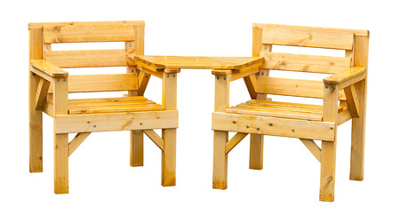 Double patio seating made from pine a popular soft wood often used for garden furniture. Standard-Bild