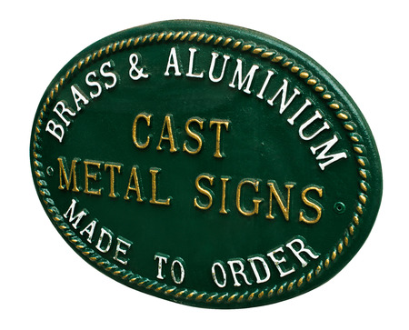 personalised: Cast Metal sign for selling custom signage for a new business or home a great example of lettering and decorative possibilities from this traditional rustic craft Stock Photo
