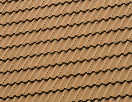 Detail patten of a tiled rooftop covered in clay tiles. Standard-Bild