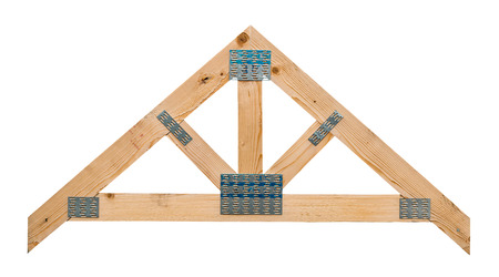 Sample of a timber roof truss showing its manufacture isolated against a white background