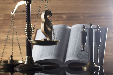 penal system: Law and justice concept - gavel and scale and legal code