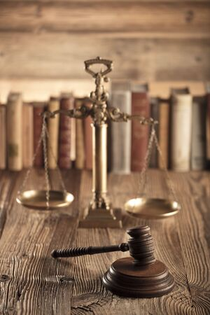 up code: Law and justice theme. Mallet of judge and scale of justice. Legal code. Stock Photo