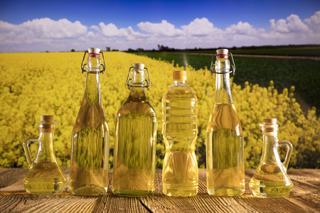 Rapeseed oil on rapeseed field background. Bottles with oil on rustic table. Summer time.
