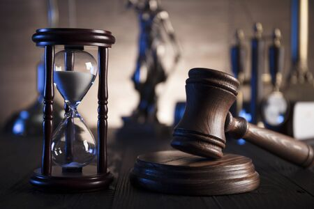 punishing: Law concept. Lawyers office. Mallet of the jugde. Scale of justice. Stock Photo