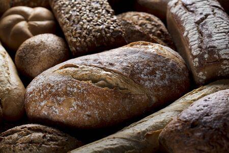 Baked goods. Mixed bread top view studio shots.