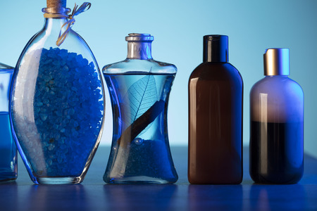 hair treatment: Spa and wellness products on the blue background. Stock Photo