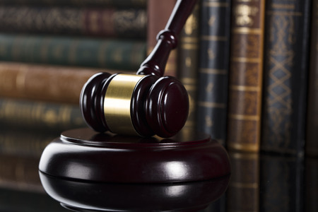 Mallet of the judge. Law theme. Court. Stock Photo