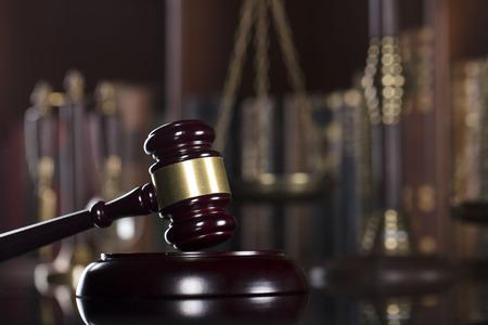 Mallet van de rechter. Wet thema. Rechtbank.