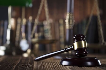barrister: Law symbols, gavel, books. Law concept background. Place for text.