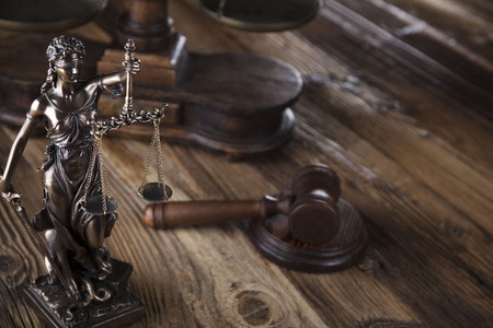 barrister: Justice concept. Gavel of the judge. Lady justice. Scale. Wooden table.