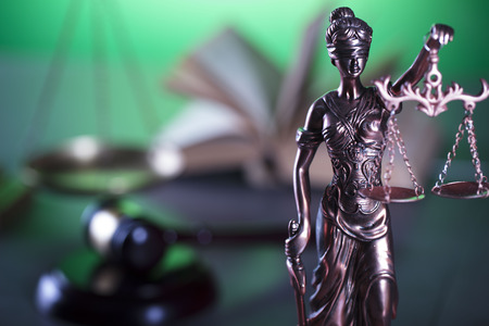 defendant: Justice concept. Gavel of the judge. Lady justice. Scale.