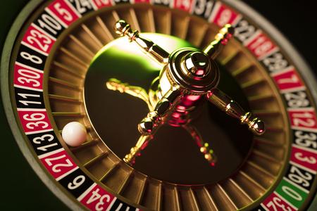 Casino theme. Gambling games. Closeup of the roulette wheel. Reklamní fotografie - 83573299