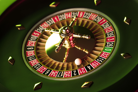 gambler: Casino theme. Gambling games. Closeup of the roulette wheel.
