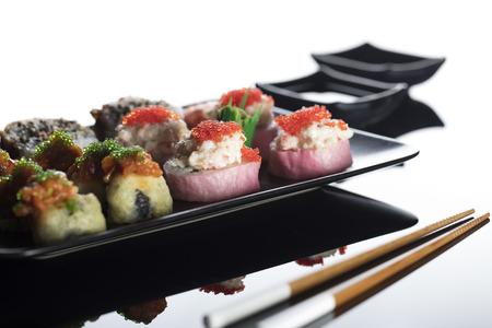 Japanse smaak sushi set. Gezond voedselconcept.