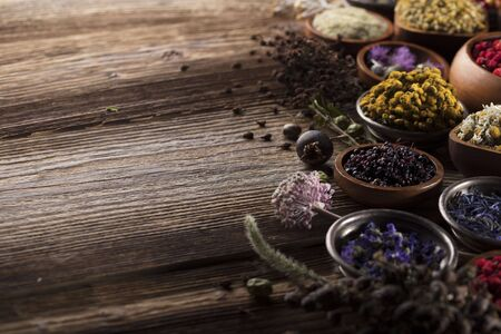 Natural medicine. Herbs, berries and flowers in bowls.
