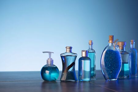Bath, spa and wellness products on the blue background.