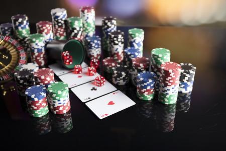 Casino concept. Dice game. Poker game. Colorful bokeh. Stock Photo