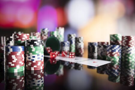 Casino theme. Colorful bokeh background. Stock Photo