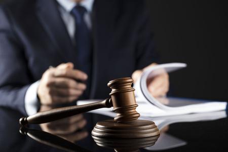 Man signing documents. Gavel. Law concept. Фото со стока - 87984129