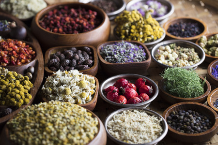 Natural medicine. Herbs, berries and flowers in bowls