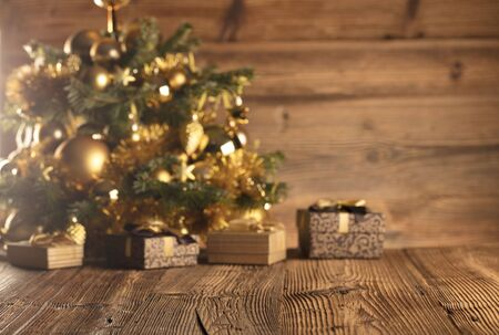 Christmas decoration and gifts on a rustic wooden background. 版權商用圖片