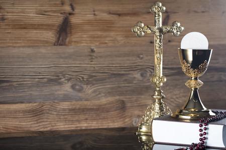 Symbols of Christianity religion, communion background.