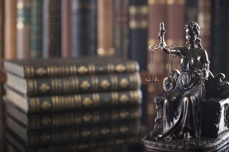 Law concept. Statue of justice in old court library. Archivio Fotografico