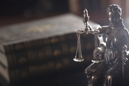 Law concept. Statue of justice in old court library. Stock Photo - 90816016