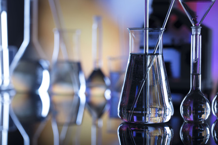 Science concept background. Laboratory glassware composition.