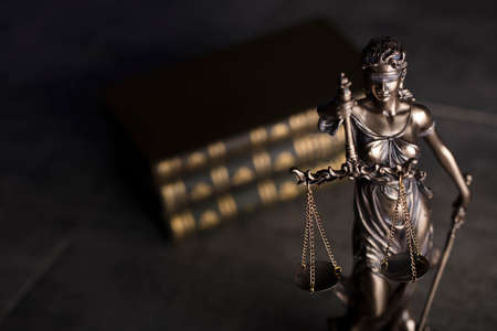 Law code. Statue of justice, books. Place for typography.