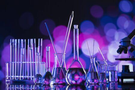 Science laoratory. Laboratory glassware, microscope, test tubes. Research and development.