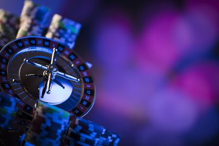 Casino. High contrast image of casino roulette. Poker chips. Bokeh background. Zdjęcie Seryjne - 97399599