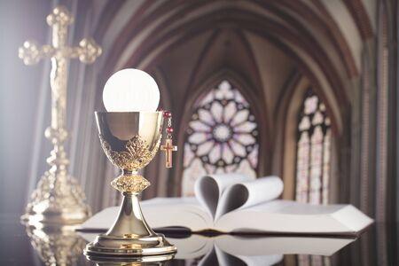 Holy communion. Catholic theme. Catholic holidays – Easter. Stock Photo