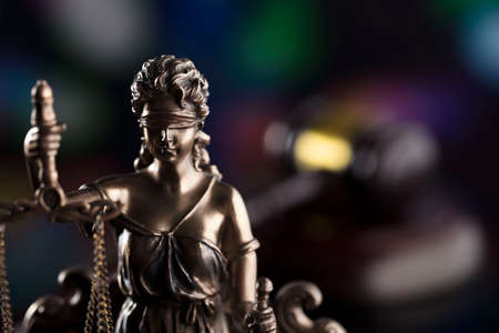 Law theme. Blind justice symbol - Themis. Stock Photo