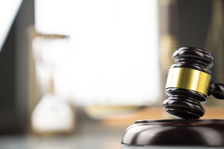 Law and justice concept. Gavel in the lawyer office. Stock Photo