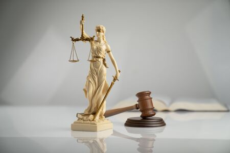 Gavel, Themis statue and legal code on white background. Stock Photo