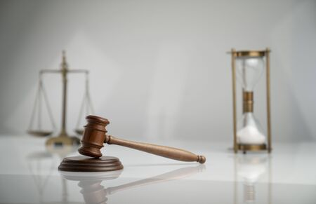 Judge antique gavel and scale. Law symbols. Legal office.