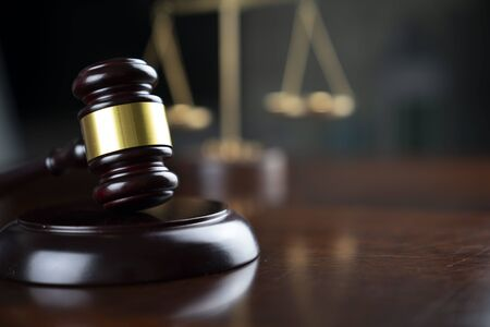 Law concept. Gavel of the judge and the scale of justice. Stock Photo