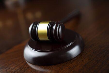 Concepto de ley. Mazo del juez. Foto de archivo