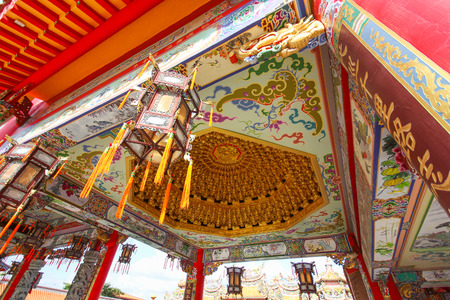 BANGKOK, THAILAND, November 23, 2016 –The Chinese temple or Shrine named Lo Hsien Tai Pu Tian Gong. Building by Rescue Organization, many people coming make a wish everyday.