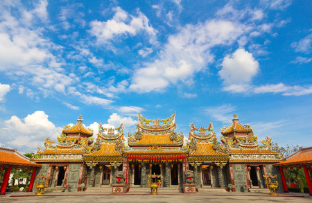 The Shrine named Lo Hsien Tai Pu Tian Gong on blue sky. Travel in holiday, Thailand.