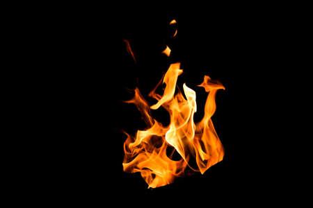 Black background burning fire