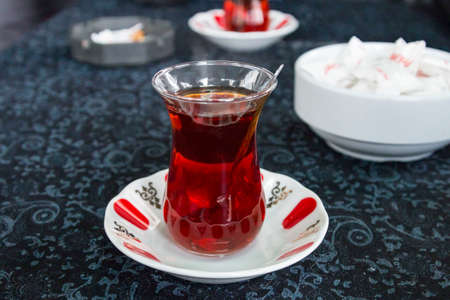 Turkish tea served in the coffee shop Stock Photo