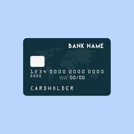 Vector illustration of detailed glossy black credit card isolated on white background